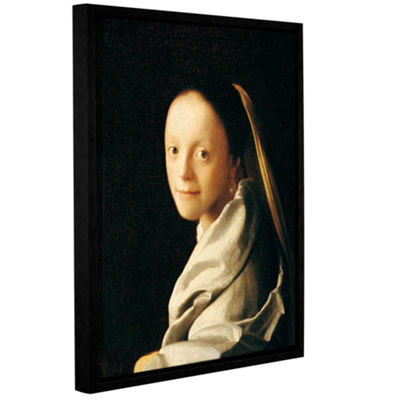 Brushstone Portrait of a Young Woman Gallery Wrapped Floater-Framed Canvas Wall Art