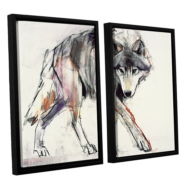 Brushstone Wolf 2-pc. Floater Framed Canvas Wall Art