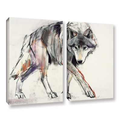 Brushstone Wolf Mark Aldington 2-pc. Gallery Wrapped Canvas Wall Art