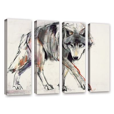 Brushstone Wolf Mark Aldington 4-pc. Gallery Wrapped Canvas Wall Art