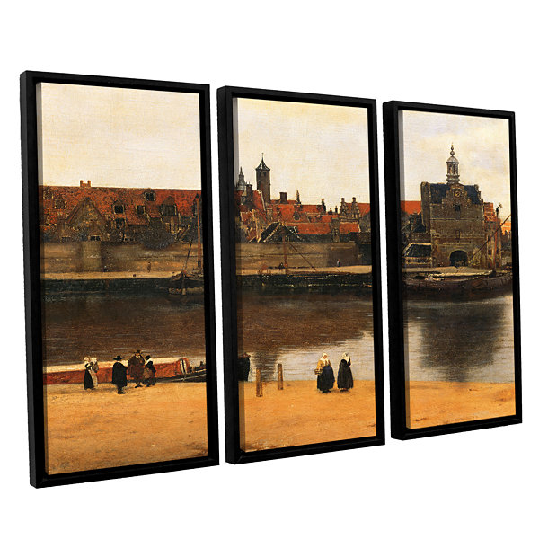 Brushstone View of Delft 3-pc. Floater Framed Canvas Wall Art
