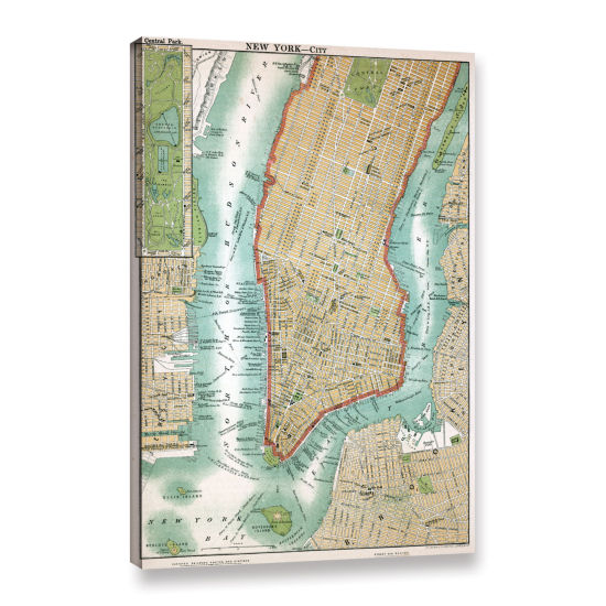 Brushstone Antique Map of Lower Manhattan and Central Park1892 Gallery Wrapped Canvas Wall Art
