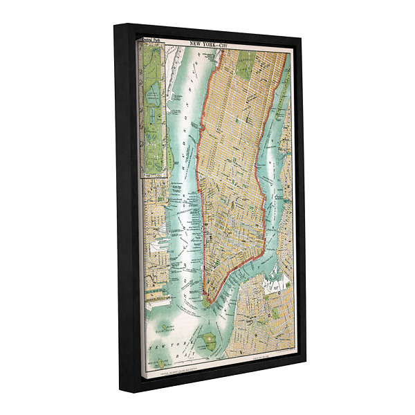 Brushstone Antique Map of Lower Manhattan and Central Park1892 Gallery Wrapped Floater-Framed CanvasWall Art