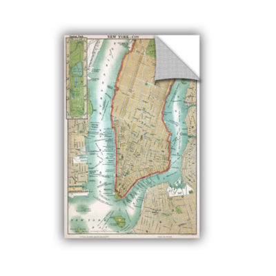 Brushstone Antique Map of Lower Manhattan and Central Park 1892 Removable Wall Decal