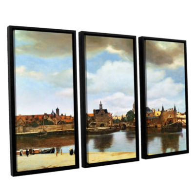 Brushstone View of Delft III 3-pc. Floater FramedCanvas Wall Art