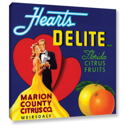 Brushstone Hearts Delite Fruit Crate Label  c.1920Gallery Wrapped Canvas Wall Art