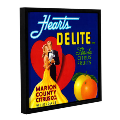 Brushstone Hearts Delite Fruit Crate Label  c.1920Gallery Wrapped Floater-Framed Canvas Wall Art