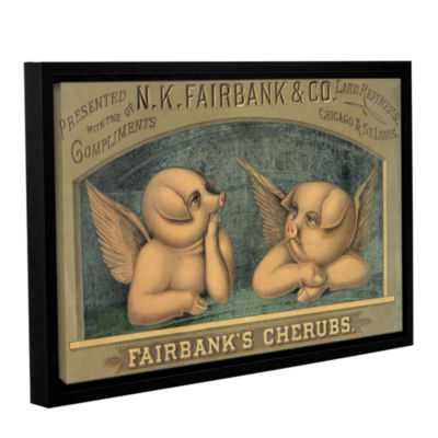 Brushstone Pigs with Wigs  c. 1890 Gallery WrappedFloater-Framed Canvas Wall Art