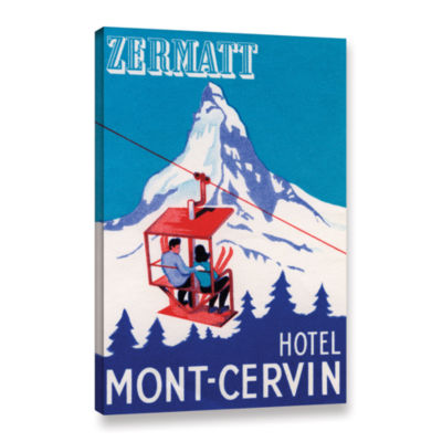 Brushstone The Zermatt Peak with Skiers on Ski Lift 1935 Gallery Wrapped Canvas Wall Art