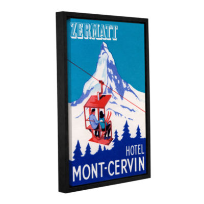 Brushstone The Zermatt Peak with Skiers on Ski Lift1935 Gallery Wrapped Floater-Framed Canvas Wall Art