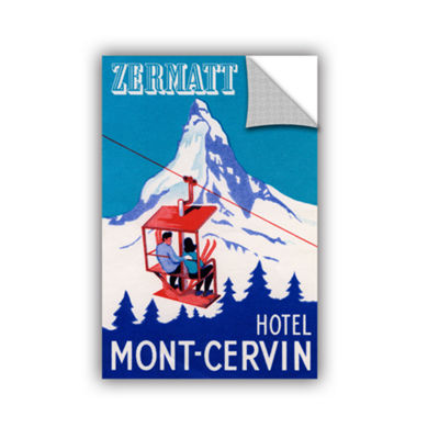 Brushstone The Zermatt Peak with Skiers on Ski Lift1935 Removable Wall Decal