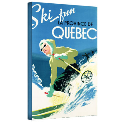 Brushstone Skiing In Quebec Gallery Wrapped CanvasWall Art