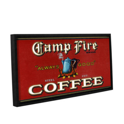 Brushstone Vintage Camp Fire Coffee Product Label1919 Gallery Wrapped Floater-Framed Canvas Wall Art