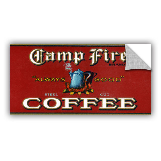 Brushstone Vintage Camp Fire Coffee Product Label1919 Removable Wall Decal