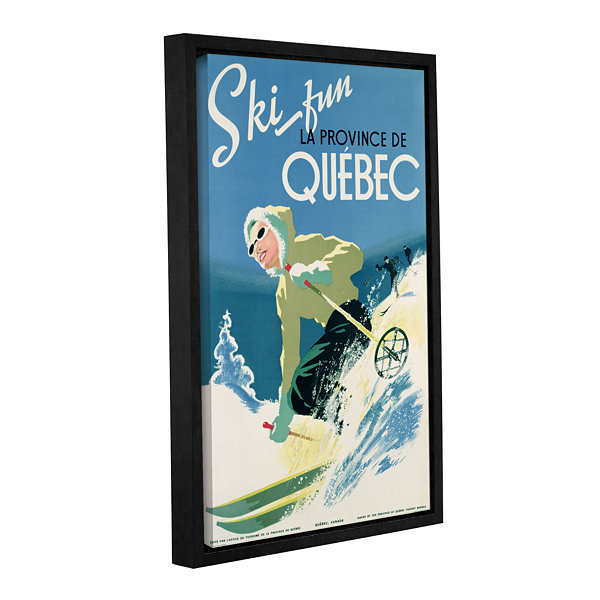 Brushstone Skiing In Quebec Gallery Wrapped Floater-Framed Canvas Wall Art