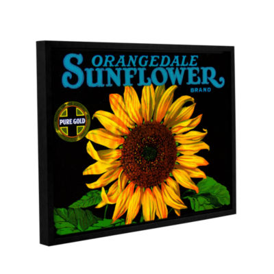 Brushstone Vintage Sunflower Fruit Crate Label1926Gallery Wrapped Floater-Framed Canvas Wall Art