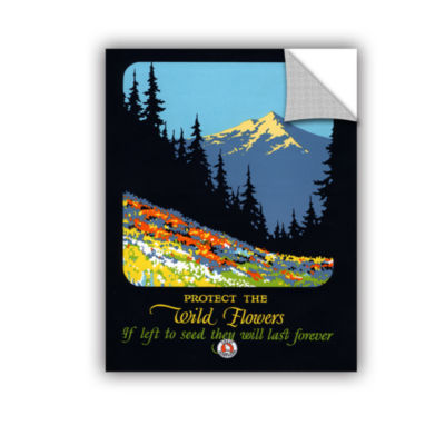 Brushstone Vintage Wildflower Conservation Poster1925 Removable Wall Decal