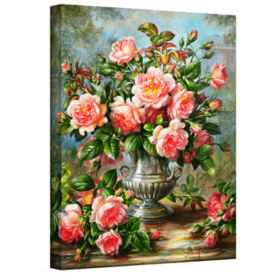 Brushstone English Elegance Roses In a Silver VaseGallery Wrapped Canvas Wall Art