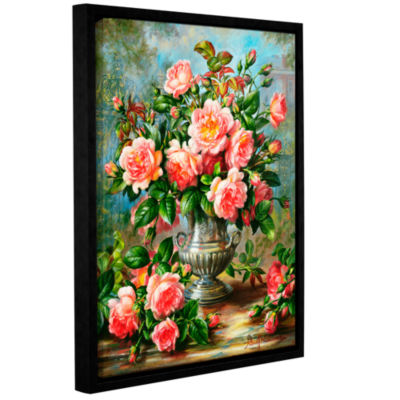 Brushstone English Elegance Roses In a Silver VaseGallery Wrapped Floater-Framed Canvas Wall Art
