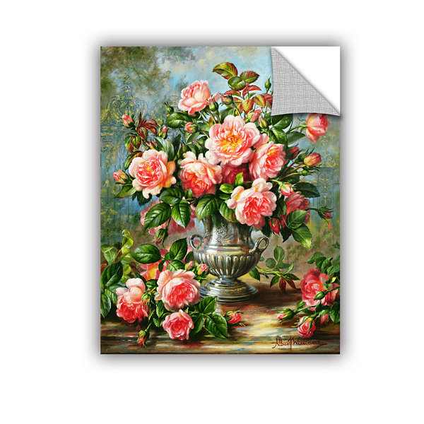 Brushstone English Elegance Roses In a Silver VaseRemovable Wall Decal