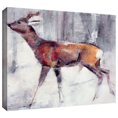 Brushstone Buck in The Snow Gallery Wrapped CanvasWall Art