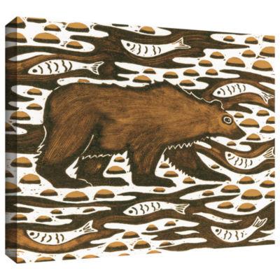 Brushstone Fishing Bear Gallery Wrapped Canvas Wall Art