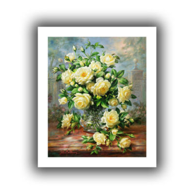 Brushstone Princess Diana Roses in a Cut Glass Vase Canvas Wall Art