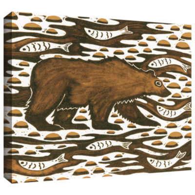 Brushstone Fishing Bear Gallery Wrapped Canvas Wall Art