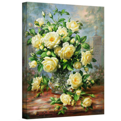 Brushstone Princess Diana Roses in a Cut Glass Vase Gallery Wrapped Canvas Wall Art
