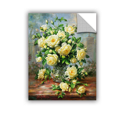 Brushstone Princess Diana Roses in a Cut Glass Vase Removable Wall Decal