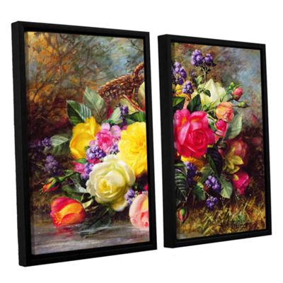 Brushstone Roses From a Victorian Garden 2-pc. Floater Framed Canvas Wall Art