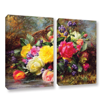 Brushstone Roses From a Victorian Garden 2-pc. Gallery Wrapped Canvas Wall Art