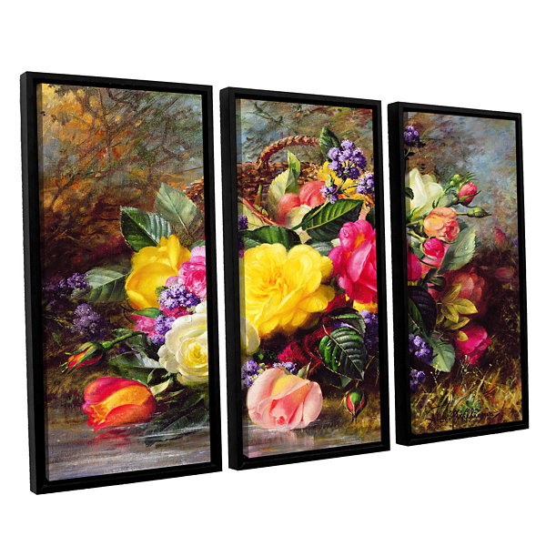 Brushstone Roses From a Victorian Garden 3-pc. Floater Framed Canvas Wall Art