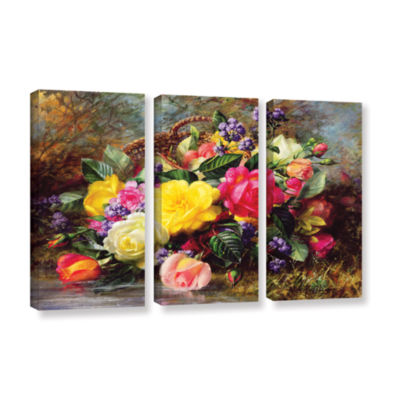 Brushstone Roses From a Victorian Garden 3-pc. Gallery Wrapped Canvas Wall Art
