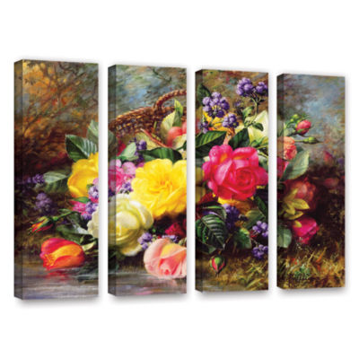 Brushstone Roses From a Victorian Garden 4-pc. Gallery Wrapped Canvas Wall Art