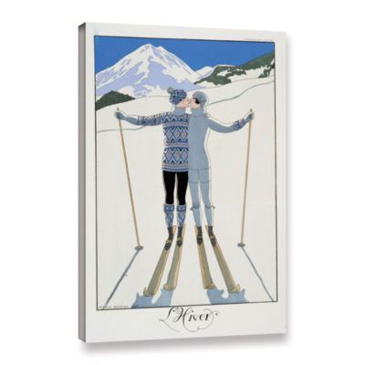 Brushstone Lovers in The Snow fashion plate from twentieth Century France  1925 Gallery Wrapped Canvas Wall Art