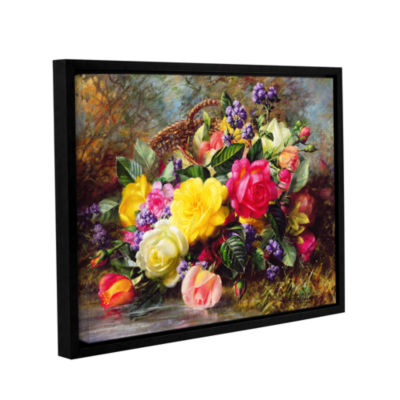 Brushstone Roses From a Victorian Garden Gallery Wrapped Floater-Framed Canvas Wall Art