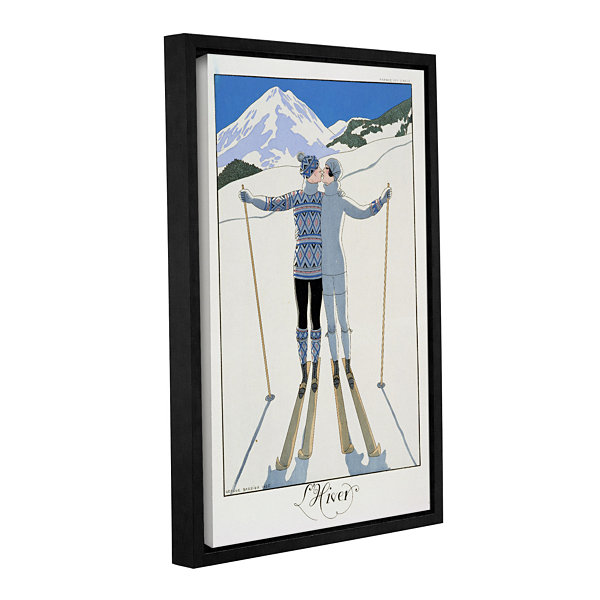 Brushstone Lovers in The Snow fashion plate from twentieth Century France  1925 Gallery Wrapped Floater-Framed Canvas Wall Art