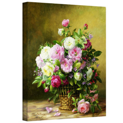 Brushstone Roses Gallery Wrapped Canvas Wall Art