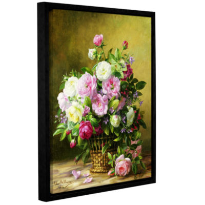 Brushstone Roses Gallery Wrapped Floater-Framed Canvas Wall Art