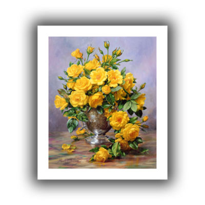 Brushstone Roses in a Silver Vase Canvas Wall Art