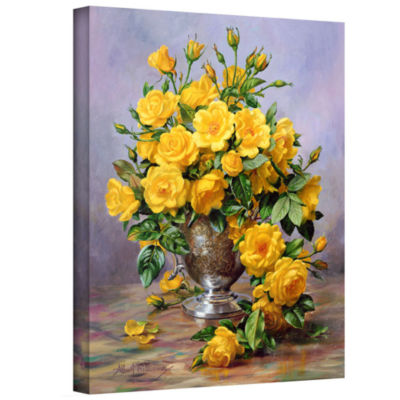 Brushstone Roses in a Silver Vase Gallery WrappedCanvas Wall Art