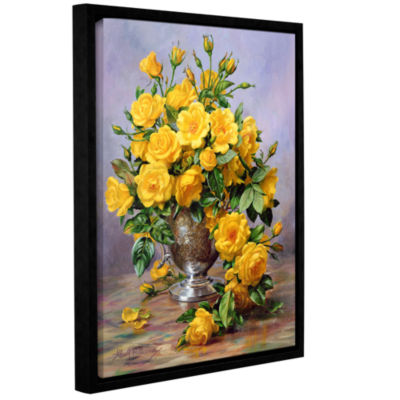 Brushstone Roses in a Silver Vase Gallery WrappedFloater-Framed Canvas Wall Art