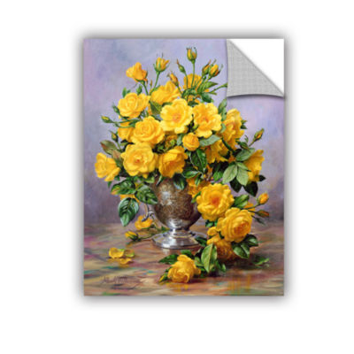 Brushstone Roses in a Silver Vase Removable Wall Decal