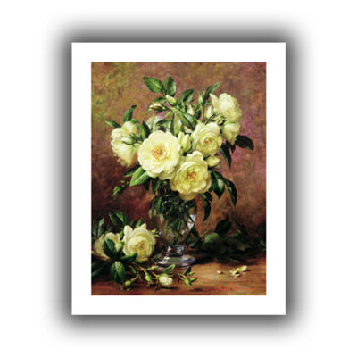 Brushstone White Roses a Gift From The Heart Canvas Wall Art