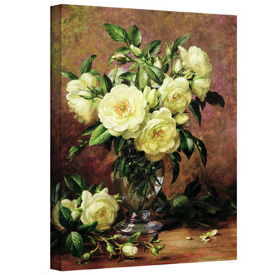 Brushstone White Roses a Gift From The Heart Gallery Wrapped Canvas Wall Art