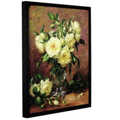 Brushstone White Roses a Gift From The Heart Gallery Wrapped Floater-Framed Canvas Wall Art