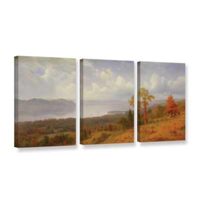Brushstone View On The Hudson Looking Across The Tappen Zee Towards Hook Mountain  1866 3-pc. Gallery Wrapped Canvas Wall Art