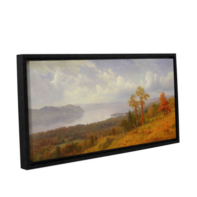 Brushstone View On The Hudson Looking Across The Tappen Zee Towards Hook Mountain 1866 Gallery Wrapped Floater-Framed Canvas Wall Art