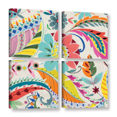 Brushstone Boho Paisley I 4-pc. Square Gallery Wrapped Canvas Wall Art